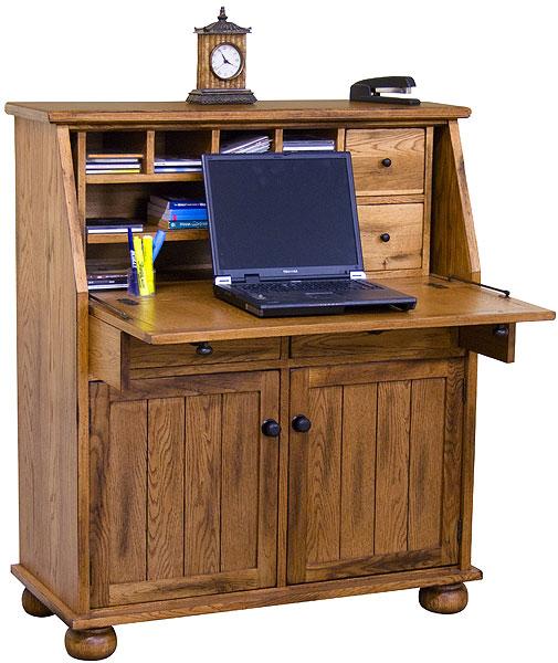 Rustic Furniture Rustic Oak Slate Secretary Desk