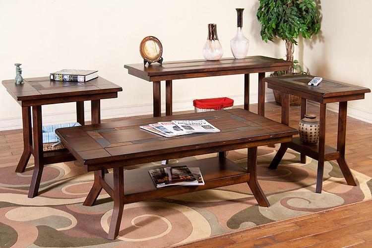 rustic furniture rustic santa fe slate top side table w