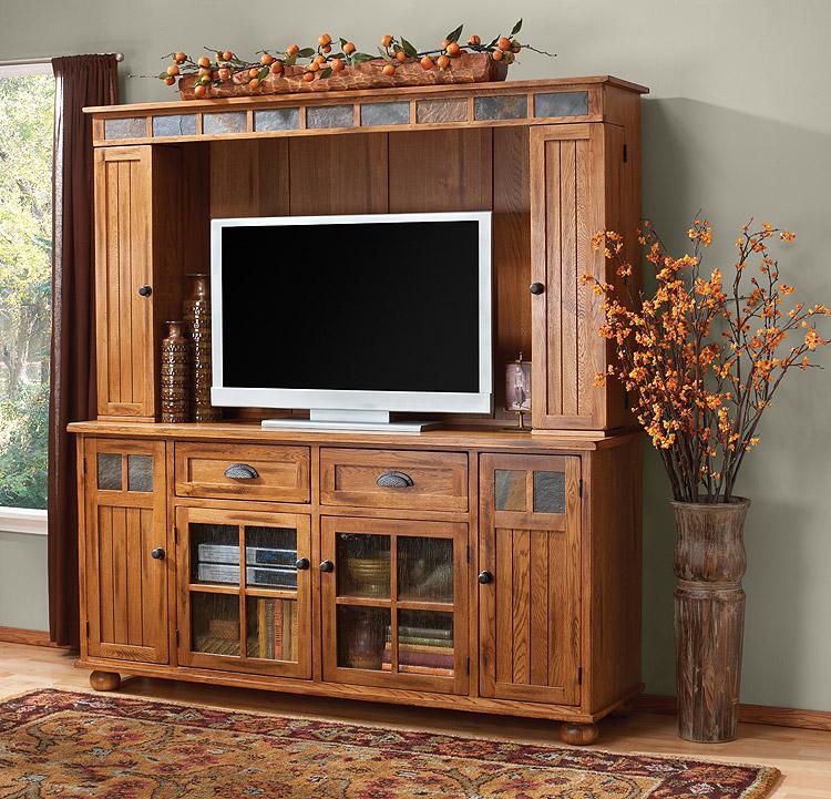 Rustic Furniture Rustic Oak Slate Complete Entertainment Center
