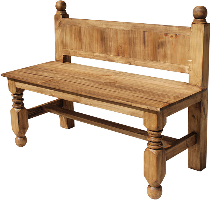 Rustic Furniture Large Lyon Mexican Rustic Pine Bench