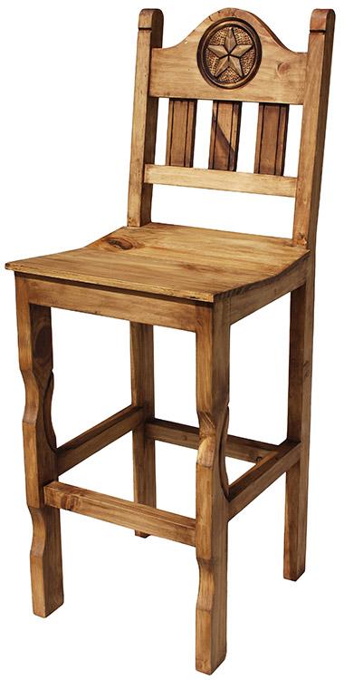 Rustic Furniture Tall Pueblo Star Mexican Rustic Pine Bar Stool
