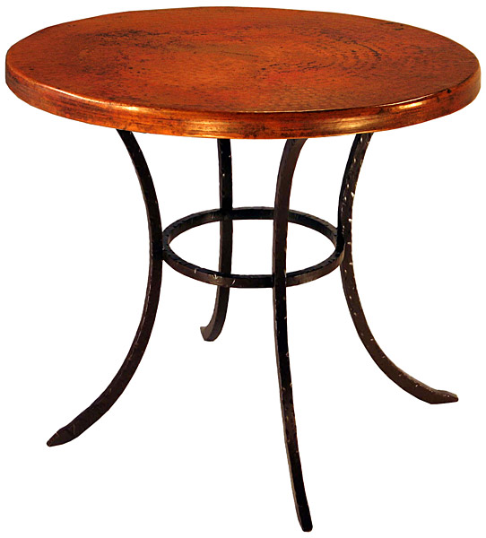 Furniture Mexican Copper Inlaid Small Round Classic Dining Table