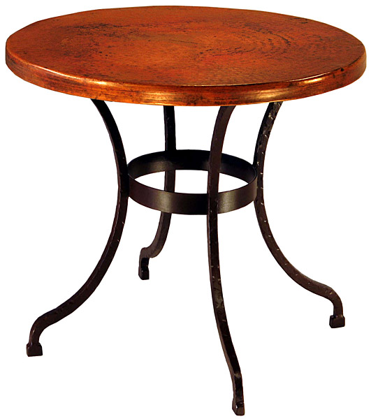 Furniture Mexican Copper Inlaid Small Round Sonoran Dining Table
