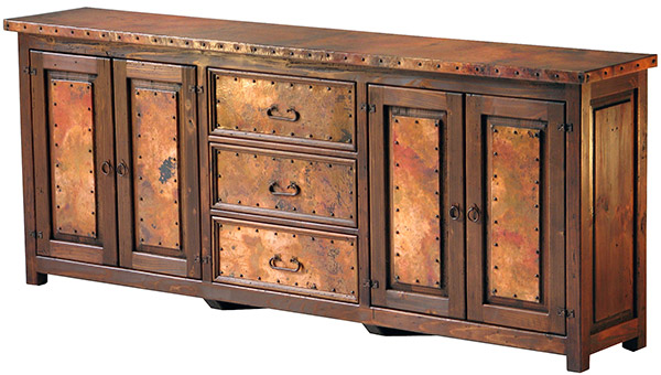 Rustic furniture mexican copper inlaid muy grande sideboard for Sideboard vollholz