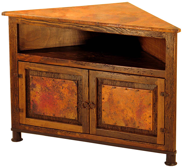 Rustic Furniture Mexican Copper Inlaid Paloma Corner Stand