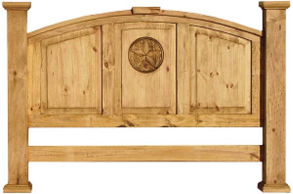 Queen Mansion Star Mexican Rustic Pine Headboard