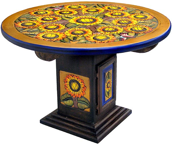 Rustic Furniture Mexican Round Sunflower Dining