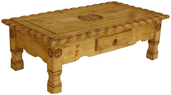 Rustic Furniture Texana 9 Star Mexican Rustic Pine Coffee Table