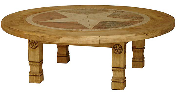 Amazing Round Julio Star Mexican Rustic Pine Coffee Table With Inlaid Marble
