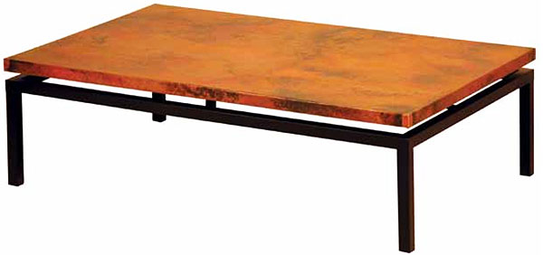 Rustic Furniture Mexican Copper Inlaid Dania Coffee Table
