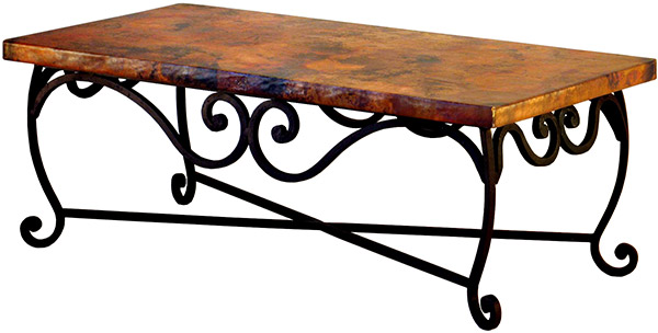 Charmant Mexican Copper Inlaid Pio Coffee Table