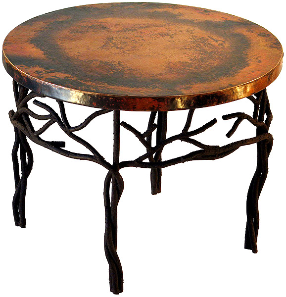 Rustic Furniture Mexican Copper Inlaid Twig Coffee Table