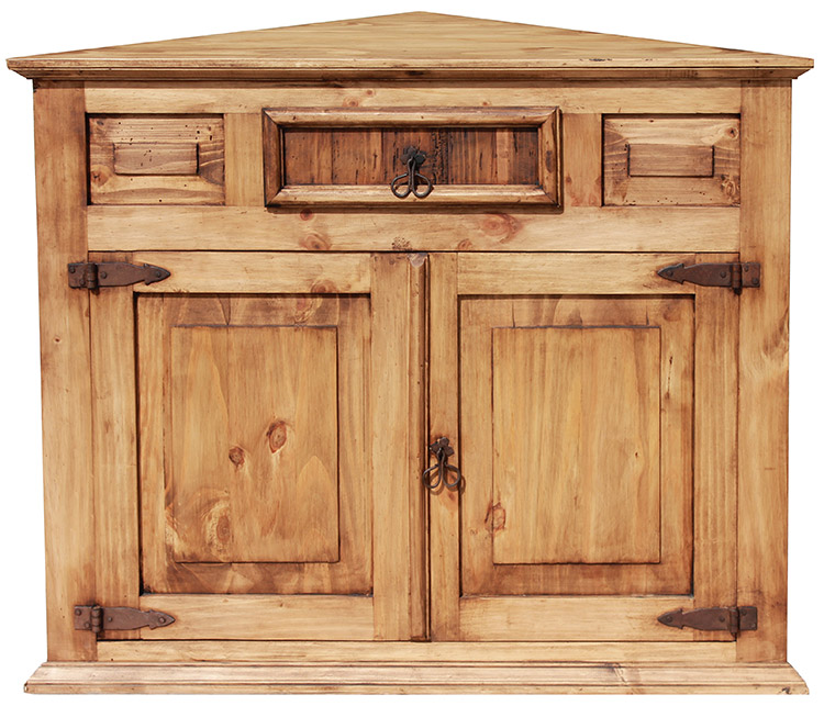 Corner Mexican Rustic Pine Cabinet