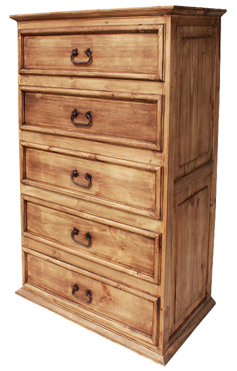 Rustic furniture tall 5 drawer mexican rustic pine dresser w o wormwood for Mexican pine bedroom furniture