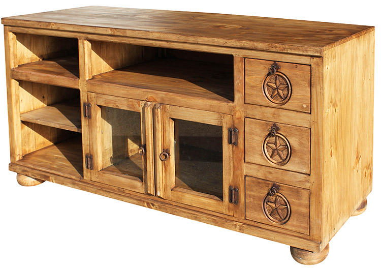 Rustic Furniture Rubio Star Mexican Rustic Pine Tv Stand