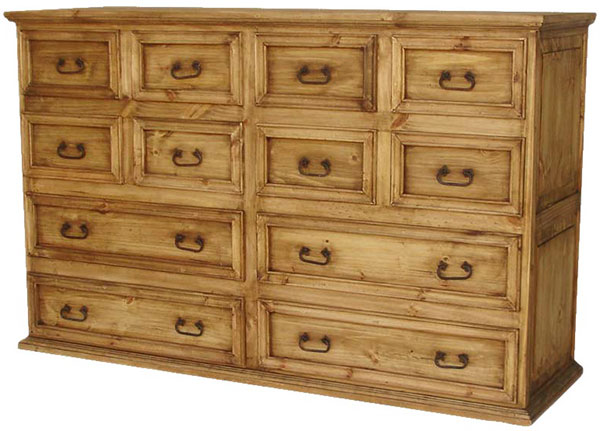 Rustic furniture twelve drawer mexican rustic pine dresser for Mexican pine bedroom furniture