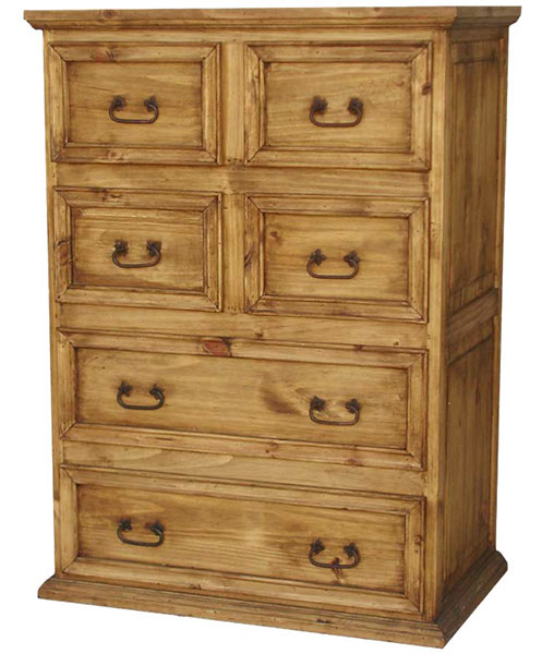 Rustic Furniture Tall 6 Drawer Mexican Rustic Pine Dresser