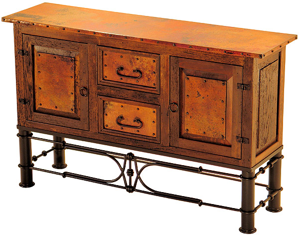 Rustic furniture mexican copper inlaid 2 door 2 drawer for Sofa table with drawers and doors