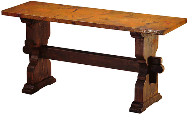 Mexican Copper Inlaid Trestle Console Table
