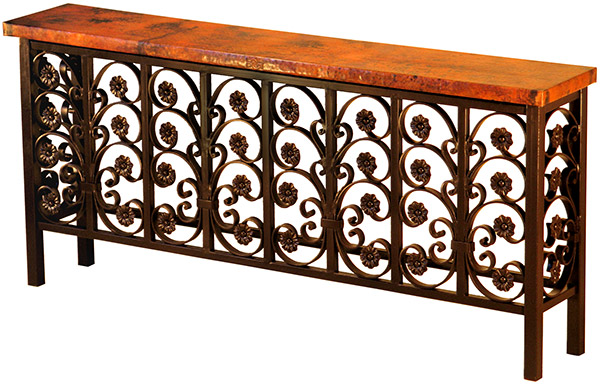Pleasant Rustic Furniture Mexican Copper Inlaid Elena Console Table Caraccident5 Cool Chair Designs And Ideas Caraccident5Info