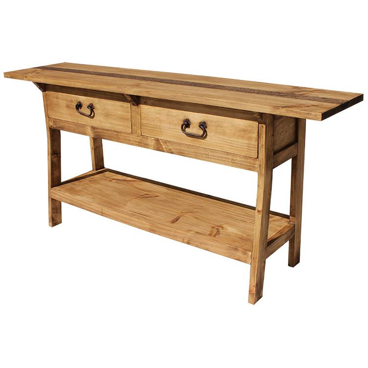 Rustic Furniture - Two-Drawer Mexican Rustic Pine Console Table