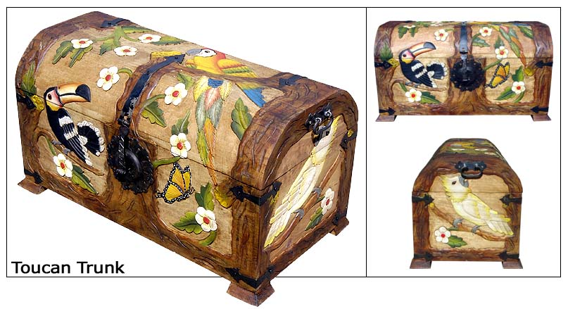 Rustic Furniture Mexican Rustic Toucan Carved Trunk