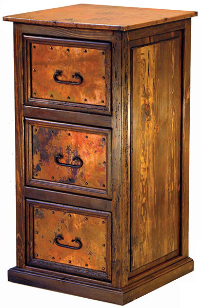 Mexican Copper Inlaid 3 Drawer File Cabinet