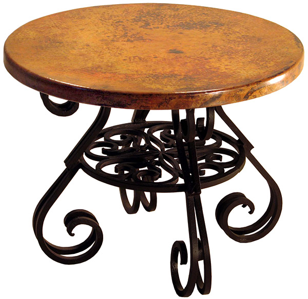 Rustic Furniture Mexican Copper Inlaid Round Esperanza