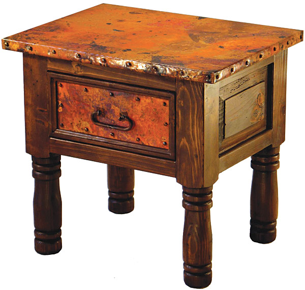 Rustic Furniture Mexican Copper Inlaid French End Table