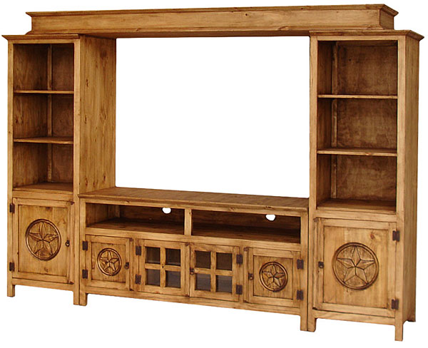 Rustic furniture gregorio star mexican rustic pine Entertainment center furniture