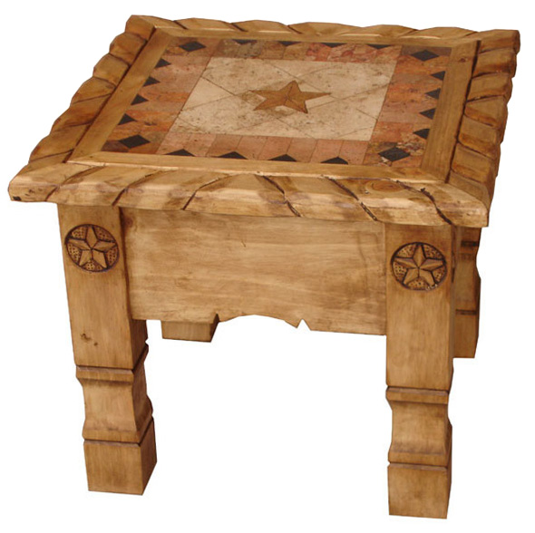 Texana Star Mexican Rustic Pine End Table With Inlaid Marble