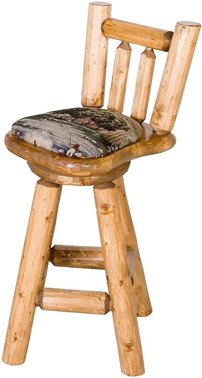 Rustic Furniture Rustic Pine Log Upholstered 24 Quot Swivel