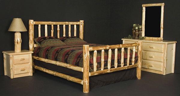 Rustic Furniture - Rustic Pine Log Twin Wilderness Bed
