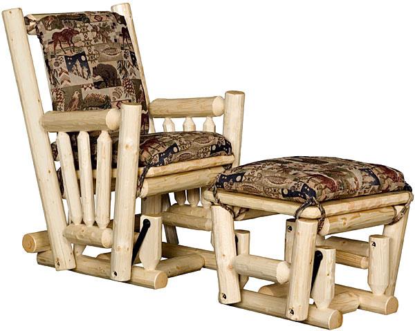 Rustic Furniture Rustic Pine Log Upholstered Log Glider