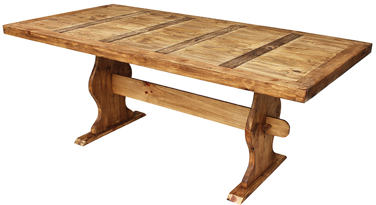 Rustic furniture large trestle mexican rustic pine for Rustic trestle dining table
