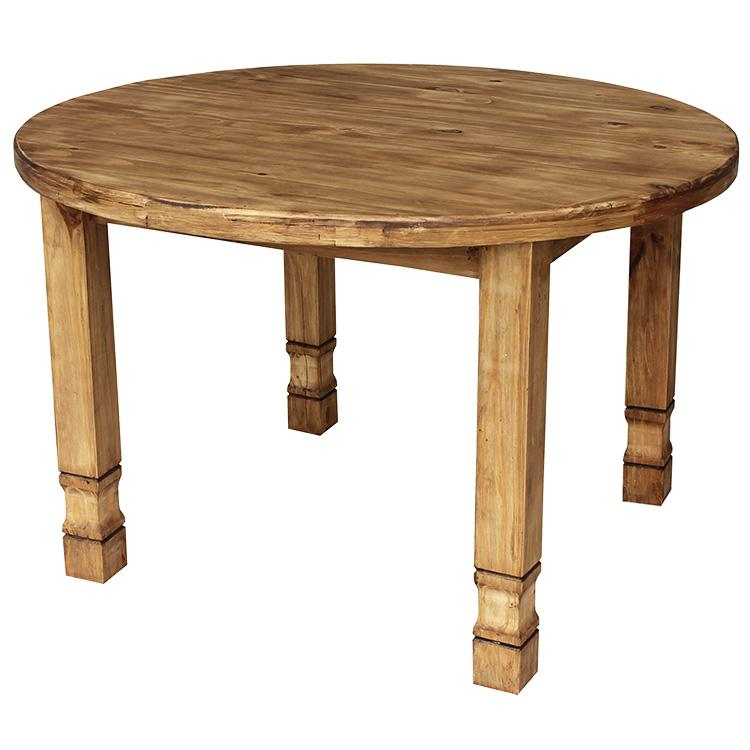 Rustic Furniture Large Round Julio Mexican Rustic Pine Dining Table