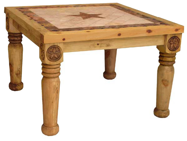 Frontera Mexican Rustic Pine Dining Table With Inlaid Marble