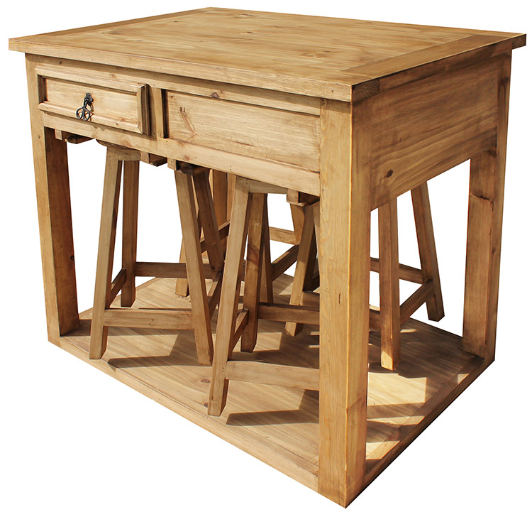 Rustic Furniture Mexican Rustic Pine Kitchen Island With