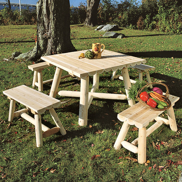 Rustic Furniture Half Log Table Group Outdoor Patio