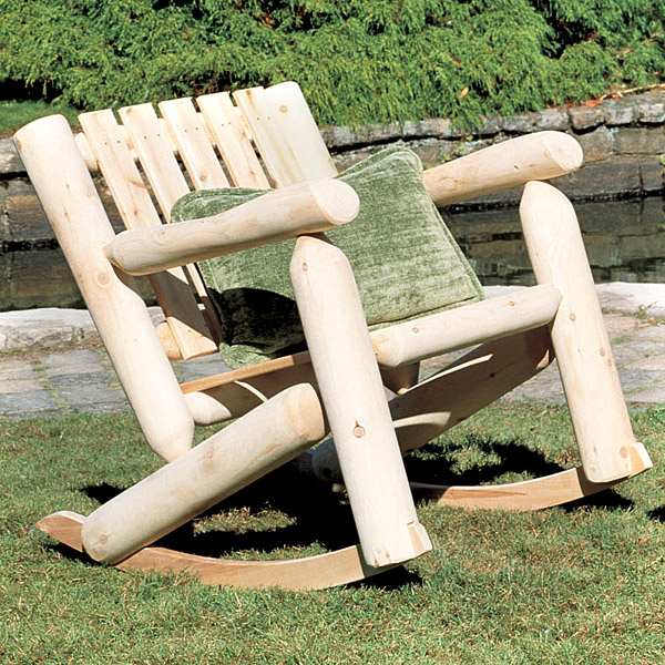 Rustic Furniture Cedar Log Outdoor Patio Low Back Rocker