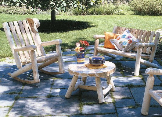 Rustic Furniture Cedar Log Outdoor Patio High Back Rocker