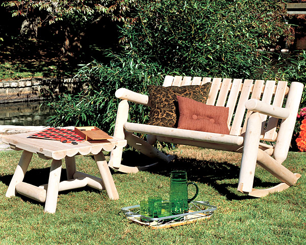 Rustic Furniture Cedar Log Outdoor Patio Double Rocker