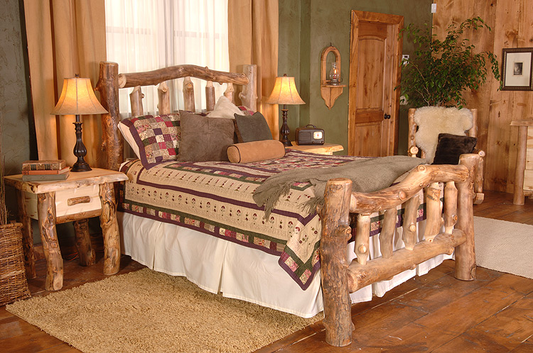 Rustic furniture rustic aspen log silver creek cali king bed for Rustic bedroom furniture