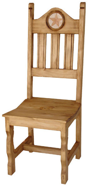 Rustic furniture texas mexican rustic pine chair with for Non traditional dining room chairs